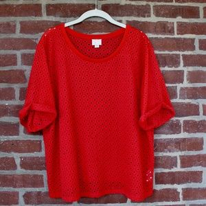 Chantal Lace Top | Size L | Brilliant Red Tee